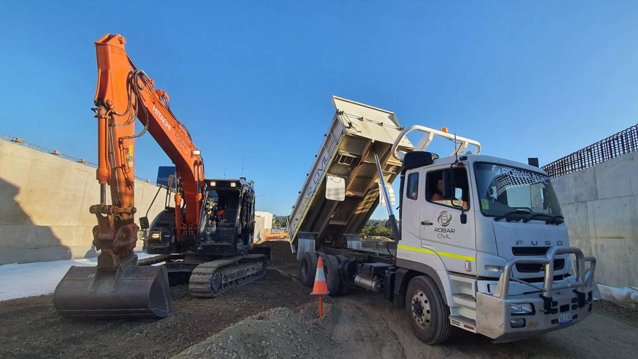 ROBAR truck and excavator